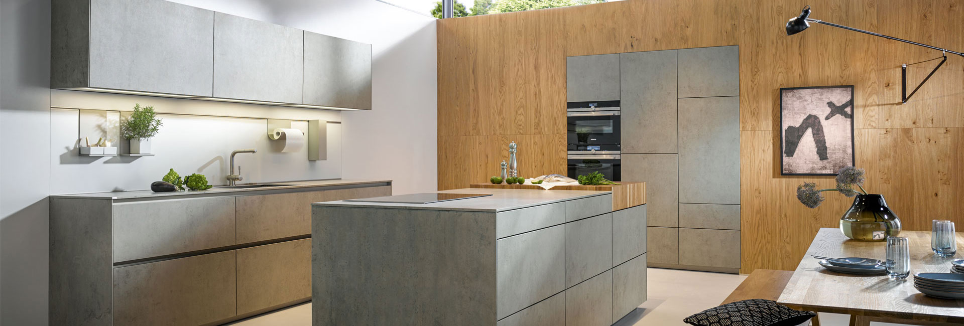 Abbildung Slide Einbauküche NX 950 Ceramic Beton Grau